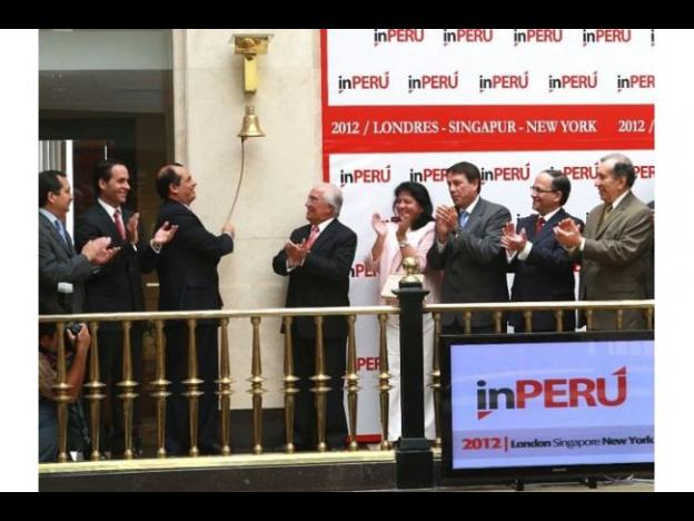 Peru's Minister of Finance rings opening bell at London Stock Exchange