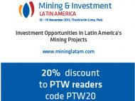 Mining and Investment Latin America conference taking place Nov. 18-19