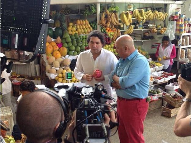 "Andrew Zimmern of ""Bizarre Foods"" filming in Lima, Peru"