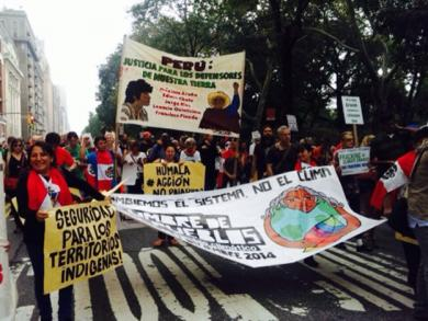 Half a million march in NY holding images of Asháninka leader
