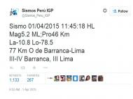 Lima rumbles softly in earthquake today