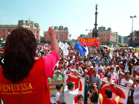 Peruvian workers, unions march for Labour Day