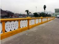 Traditional bridge in Downtown Lima painted yellow