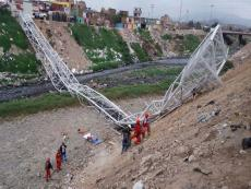 Metal bridge over the Rimac River collapses
