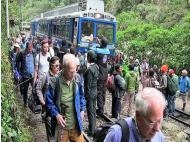 Visitors block train to Machu Picchu