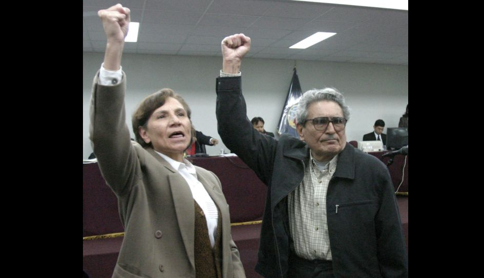 Abimael Guzmán and Elena Iparraguirre at their second trial in 2004